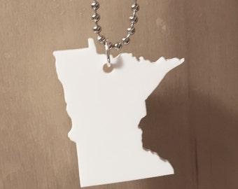 Minnesota Shape Necklace, Large Size, White Laser Cut Acrylic, State Jewelry