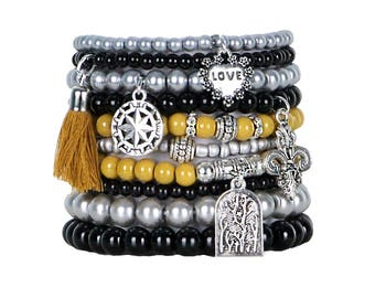 Beaded Bracelets Set of 10 Stretch Bracelets Bohemian Themed Stack with Silver Tone Charms and Tassel