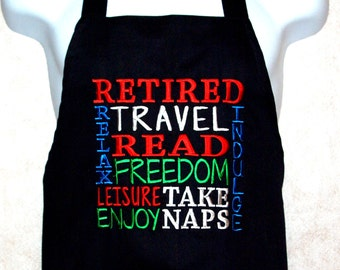 Retired Apron, Retirement Apron, Subway Art,  Humorous BBQ Grilling, Embroidered, No Shipping Fee,  Ready To Ship Today AGFT 714