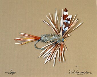 Fishing Fly Paper Sculpture of an Adams Fly