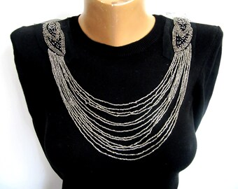 Sora Metalic Shoulder Epaulet, Metalic Glass Bead Pads,Beaded Chain Embellishment,Dress Embellishment Costume Accessory,Collar Embellishment