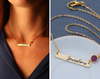 Gold Birthstone Bar Necklace • Bridesmaid Gift Personalized Gold Bar Crystal Birthstone Bar Jewelry • Stamped Name Necklace