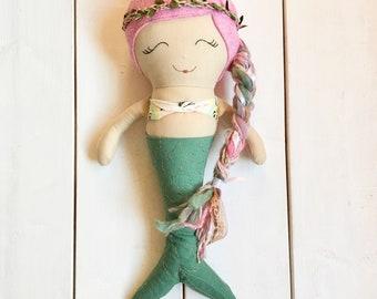 Ready to ship, mermaid, doll, rag doll, cloth doll, handmade, heirloom