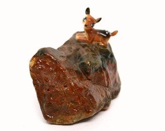 "Vintage Miniature Deer Figurine Perched On Top of Petrified Wood ""Rock"""