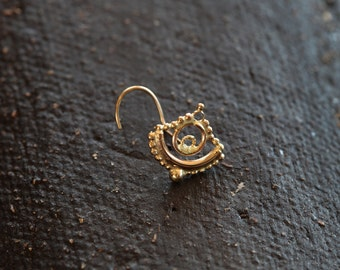 Nose stud - Sacred Eye - nose jewelry - 14k gold nose stud - stud - eye jewelry - yellow gold - tragus