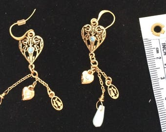 Pilgrim - Gold heart earring