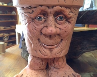 Ceramic Face Pot - People Pots - Holiday Gifts - Home Decor Gifts - Grandpa Pots