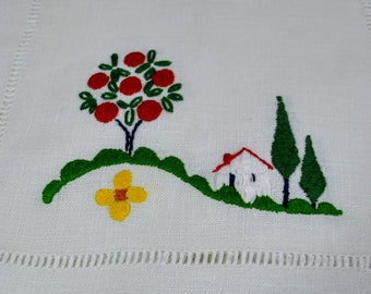 Set of 8 Linen Embroidered Placemats - Drawn Work Borders - Apple Tree House - Red Green Yellow