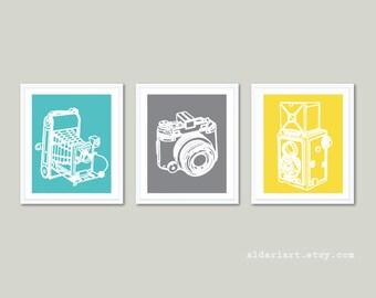 Vintage Cameras Art Prints - Cameras Wall Art - Art Gift For Photographer - Blue Gray Yellow Colors - Camera Poster - Aldari Art