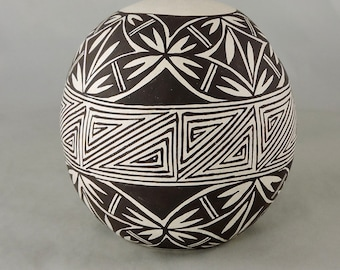 Vintage Black and White Acoma Pottery by Virgie Garcia