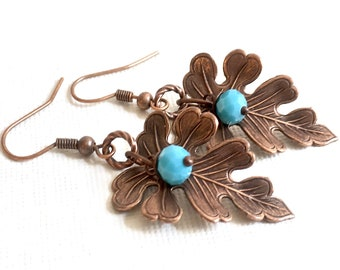 Copper Leaf Earrings - Oak Leaf, Blue Earrings, Botanical Jewelry, Leaf Jewelry, Nature Jewelry
