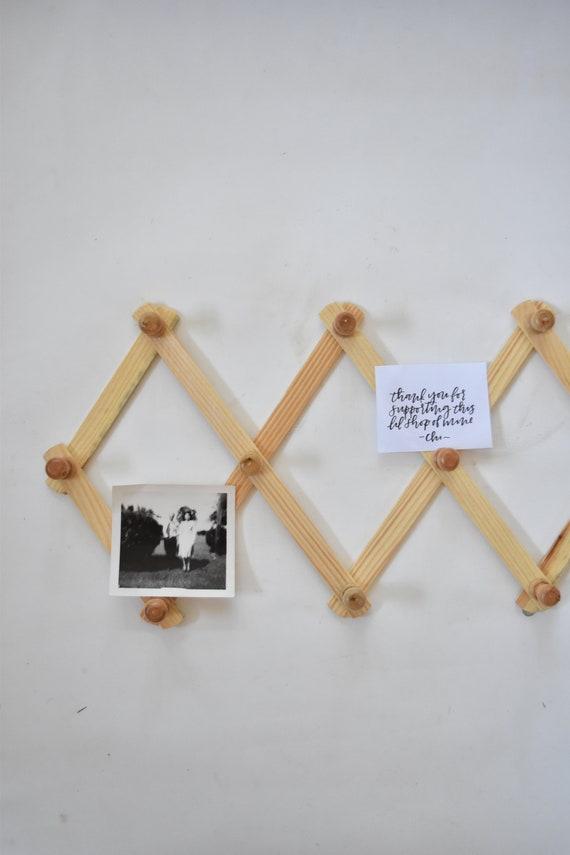 regular size wood accordion wood peg wall hanging rack // hat display storage // organizer