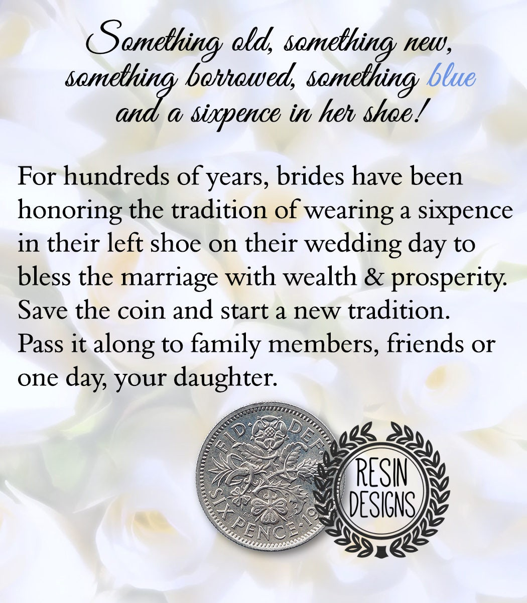 Sixpence Coin Something Old Something New Something Blue Wedding