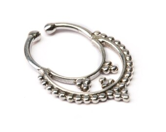 Septum Ring Sterling Silver 925 Septum Fake Septum Tribal Jewelery Indian Nose Ring S13 Gift Boxed and Gift Bag Free UK Delivery