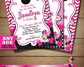 Minnie mouse 3rd birthday invitation Etsy