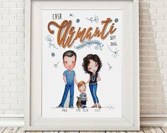 RITRATTO DI FAMIGLIAx3  personalizzato,illustrazione, Custom Family Portrait,  (3 soggetti)