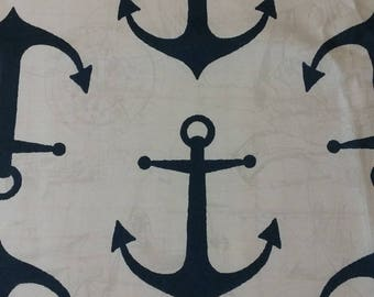 Fabric, navy blue and white, Premier Prints, Anchors Cavern, indoor/outdoor fabric, fabric remnants, home decor, nautical fabric, anchors