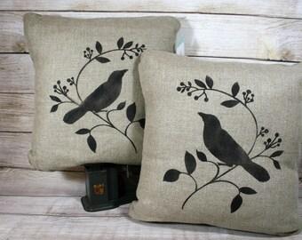 Song Birds Throw Pillow, Linen Pillow, Home Decor