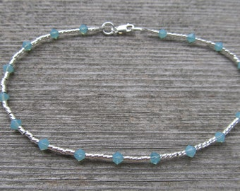 Pacific Opal Swarovski Crystal and Sterling Silver Anklet