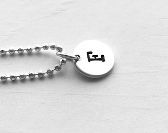 Initial Necklace, Sterling Silver, Personalized Jewelry, All Letters Available, Hand Stamped Jewelry, Letter F Necklace, Initial Pendant