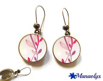 Pink leaf earrings bronze earrings, retro 3085