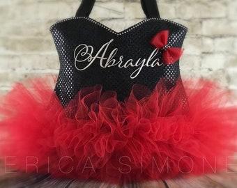 Black Sparkle Bling Ballet Tutu Tote Bag - Dance Bag - Ballerina Tutu Bag - Birthday Present - Recital Monogram - Red and Black