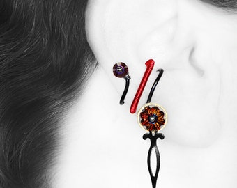 Steampunk Ear Cuff With Volcano Swarovski Crystals, No Piercing, Cartilage Earring, Red Ear Cuff, Statement Jewelry, Hades III v10