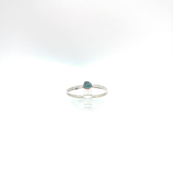 Apatite Stacking Ring | Sterling Silver Copper Ring Sz 12 | Raw Apatite Ring | Raw Stone Jewelry | Mixed Metal Ring | Blue Apatite Ring