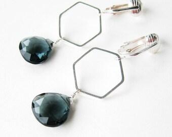 Dark Navy Blue Dangle Clip-on Earrings, Silver Ear Clips, Faceted Teardrop Stones, Geometric Clip Earrings for Non Pierced Ears, Juno Silver