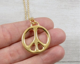 Peace Sign Necklace, Gold Plated Peace Symbol Charm on a Gold Cable Chain