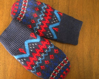 Adults Fun Fair Isle Mittens, Sweater MittensLined, Upcycled, Vegan,  Ladies Size Small-Medium, Mens Size XSmall-Small