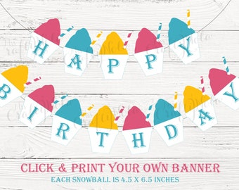 Sno Much Fun - Snowball Themed Birthday Banner (Pink, Yellow & Aqua)