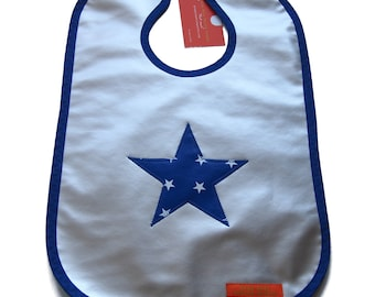 """Large bib made from waterproof oilcloth lined Terry """"Star"""" - big polka dots"""