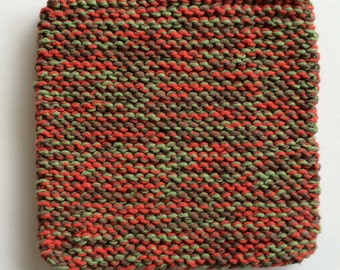 Hand Knit Cotton Pot Holders - Set of 2 - Brown, Paprika, Sage Green
