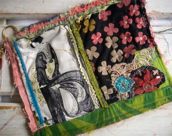 Upcycled Womens Purse, Upcycled Zip Pouch, Assemblage Purse, Zip Pouch, Coin Purse, Japanese