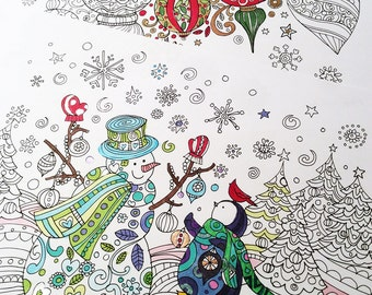 Sue Zipkin Christmas printable set of 2 coloring book pages for instant download