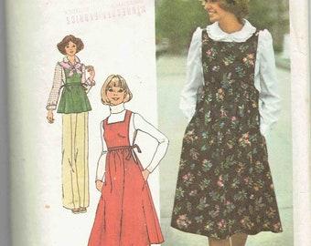 70er Jahre Kleid/Jumper Schürze und Bluse Schnittmuster Simplicity 7372. Hohe Taille Pullover w/Taschen, ausgestelltem Rock. Peter Pan Bluse. Größe 12 Büste 34