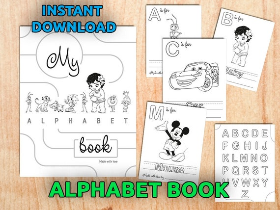 Alphabet Book Coloring Pages Printable / Baby's First