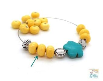 "10 pearls ""abacus"" glazed ceramic yellow 5x8mm (pc231)"