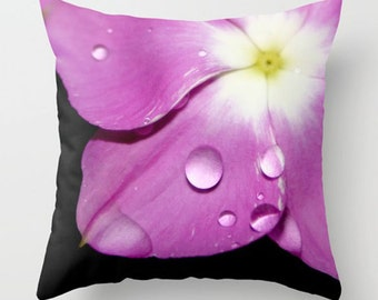 Floral Pillow Cover-Pink & Black Pillow Cover-Raindrops on Flower Throw Pillow-Fuchsia Decor-Faux Suede Pillow-Lumbar Pillow-Bold Decor