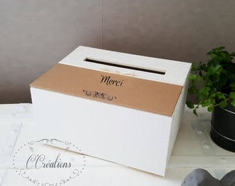 Urn box for guests gifts {Kraft+  Kraft paper, satin