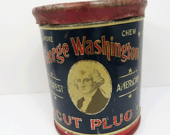 George Washington Cut Plug Tobacco Tin, Humidor, Reynolds Tobacco Co., Tobacciana Advertising Collectible, President's Day