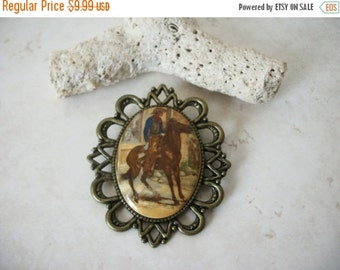 ON SALE Vintage Over Sized Antique Bronze Horseman Cowboy Plastic Glass Top Pin 92716