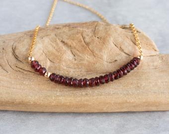 Garnet Bar Necklace, January Birthstone, Red Garnet Row Necklace in Gold or Silver, Beaded Garnet Necklace, Garnet Jewellery, Wife Gift