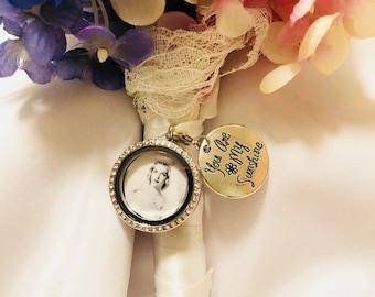 "Silver Round Rhinestone , Wedding Bouquet Charm,""You are my sunshine"",Bouquet Charm, Wedding Memory"