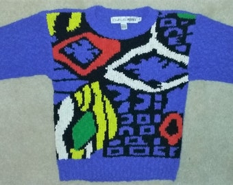90s Chaus Bright Abstract Nubby Sweater Size Petite Small