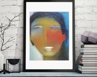 abstract face painting Modern art, small oil on canvas, blue red contemporary figurative abstract art, wall art canvas, portrait modern art