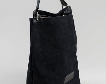 Comfortable Genuine Leather And Suede Tote Black Color, Huge Leather Suede Bag, Genuine Leather Shopping Bag, Black Suede Olalabags Tote