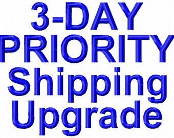 Priority Shipping within US, 3 business day shipping (not including production time)