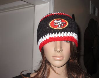 San Francisco 49ers  Beanie Style Red Black White  Hand Crochet